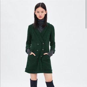 ZARA Green Tweed Dress with Gemstone Buttons S NWT